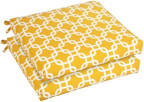 Mozaic AZCS2952 Indoor or Outdoor Square Chair Seat Cushions Set, Set of 2, 19 inches, Yellow White