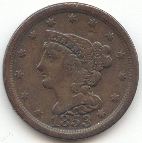 1853 Braided Hair Half Cent Very Fine