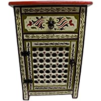 Handpainted Moroccan Moucharabi Design Nightstand in Ivory