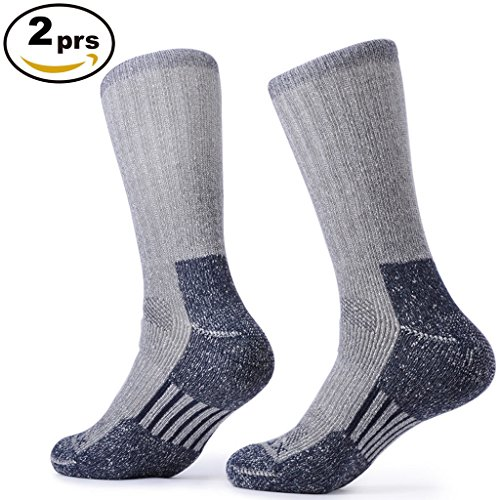SOLAX 2 Pairs Merino Wool Athletic Crew Hiking Socks for Men (Size for 9-12.5 Navy)