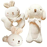 (Puppy & Baby Rabbit Rattle Set)100% Organic Cotton(No Dyeing Natural Organic...