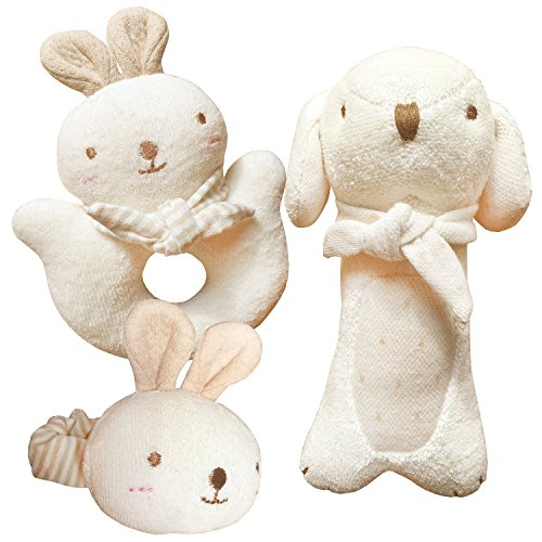 [(Puppy & Baby Rabbit Rattle Set)100% Organic Cotton(No Dyeing Natural Organic Cotton)] (Cloth Rattle)