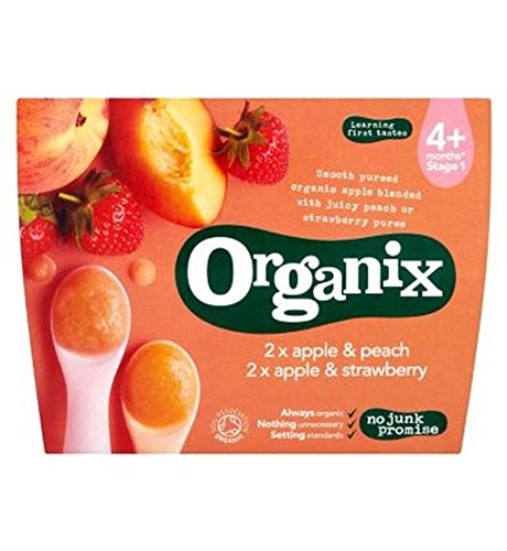 Organix Apple & Peach Apple & Strawberry 4+ Months Stage 1 4 X 100G - Pack of 2 by Organix