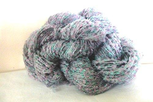Mini Loop Boucle Soft Green Rose Gray Novelty - Nylon Boucle Yarn