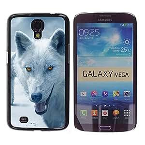 Caucho caso de Shell duro de la cubierta de accesorios de protección BY RAYDREAMMM - Samsung Galaxy Mega 6.3 I9200 SGH-i527 - Wolf Arctic Winter Furry Canine Beast