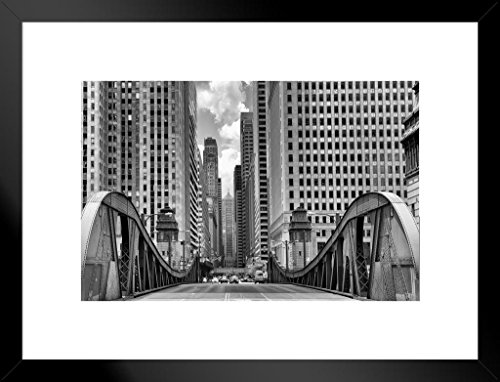 La Salle Street Bridge Chicago Illinois Black and White B&W Photo Art Print Matted Framed Wall Art 26x20 inch