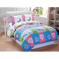 Mk collection 3Pc Full Size Butterfly Purple Pink Turquoise Green Flowers Girls Teens Duvet Set New (Full Duvet)