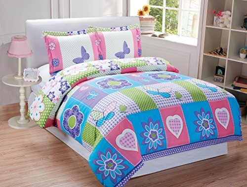 Mk collection 5pc Twin Size Butterfly Purple Pink Turquoise Green Flowers Comforter Set Girls Teens New (Butterfly Comforter Sets)