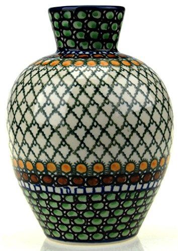 Ceramika Artystyczna Polish Hand Painted Medium Vase (Green Patterned)
