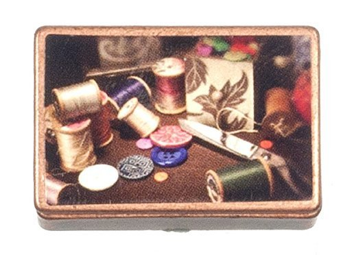 Antique Miniature (Dollhouse Miniature 1:12 Scale Antique Sewing BOX with Accessories #G7047)
