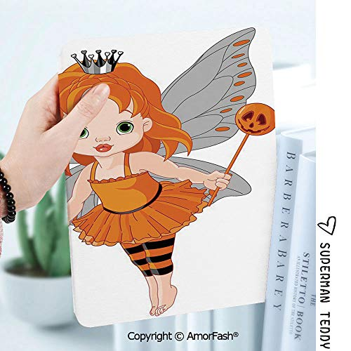 Case for Samsung Galaxy Tab A 8.0 2017 Model T380 / T385, Smart Slim Shell Stand,Halloween Halloween Baby Fairy and Her Cat in Costumes Butterflies Girls Kids Room Decor Decorative -