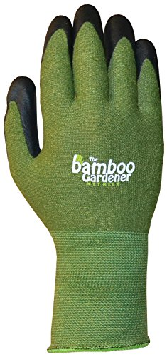 Bellingham C5371M The Bamboo Gardener Work Gloves, Made of Sustainable Bamboo Rayon Fiber, Durable Nitrile Palm and Fingers, Medium, (Nitrile Gardening Gloves)