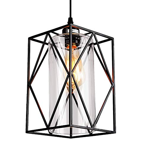 HMVPL Adjustable Pendant Lighting Fixture, Modern Iron Industrial Mini Swag Hanging Lamps with Glass Shade for Kitchen Island Bedroom Hallway Bar Living Room