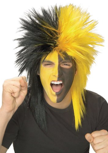 Rubie's Black and Yellow Sports Fan Wig, Black/Yellow, One -