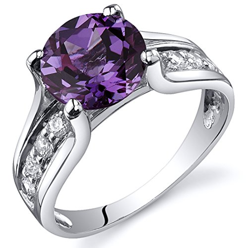 Simulated Alexandrite Solitaire Ring Sterling Silver Rhodium Nickel Finish Size 7