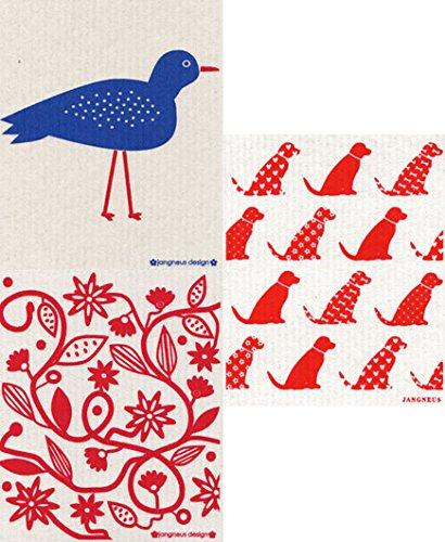 Jangneus Swedish Dishcloth - Set of 3 Coordinating (RP) Red & Blue