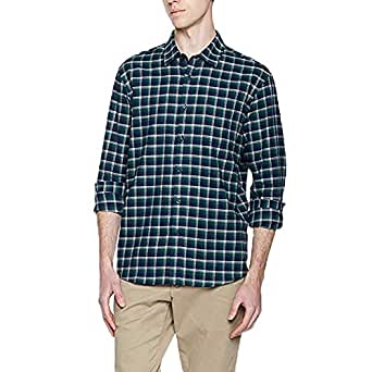 Lumberfield Spring 100% Cotton Men's Casual Button-Down Plaid Shirts Green-Black