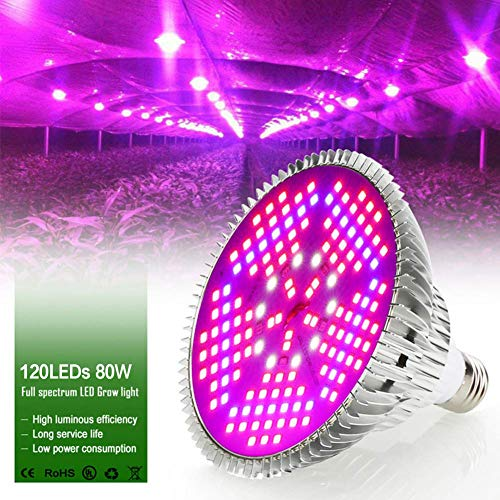 80W LED Grow Light Bulb, Full Spectrum Growing Lights UV IR for Indoor Plants Hydroponics Veg and Flowers, in Tent Greenhouse (PAR with E27 120LED)