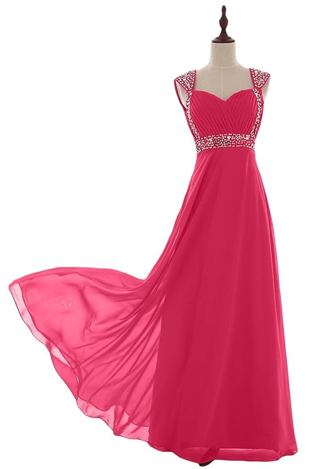 Vimans? Girl's Elegant Long Fuschia Pleated Gowns Evening Gowns with Beads