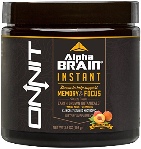 Onnit Alpha Brain Instant | Nootropics Powder Clinically Studied to Support Memory, Focus & Processing Speed | Natural Peach