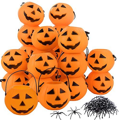Bucket Pumpkin Treat - EOOUT 24Pack Mini Pumpkin Buckets and 30Pcs Plastic Spiders - Halloween Trick or Treat Bags for Halloween Home Décor