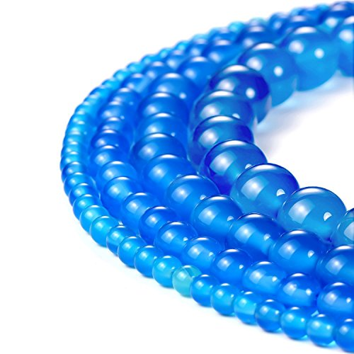8mm Natural Blue Agate Beads Round Loose Gemstone Beads for Jewelry Making Strand 15 Inch (47-50pcs) (8 Agate Mm Genuine)