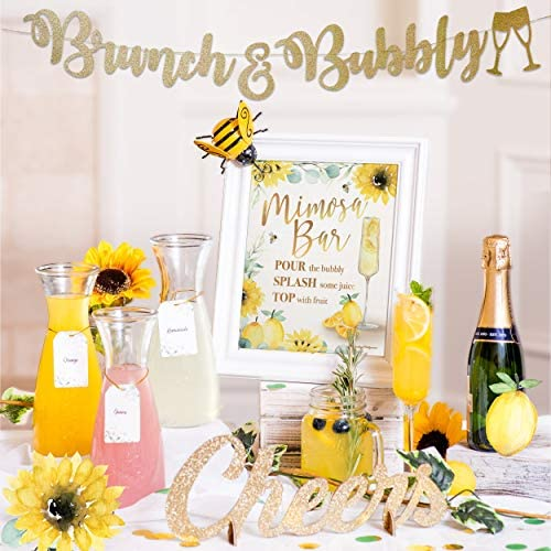 Lemon Bee Sunflower Mimosa Bar Kit - Momosa Bumble Beehive Baby Shower Accessories, Main Squeeze Bridal Brunch Decorations Gold Bubbly Banner Sign, Honey What Will It Gender Reveal Pooh Theme (Yellow)