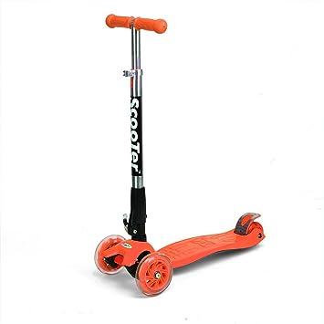 Fascol® patinetes 3 ruedas para niños scooters plegables ,Naranja