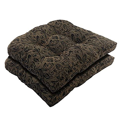 Bossima Indoor/Outdoor Black/gold Damask Wicker Seat Cushions, Set Of  2,Spring/Summer Seasonal Replacement Cushions.