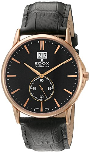 Edox Men's 64012 37R NIR Les Bemonts Analog Display Swiss Quartz Black Watch