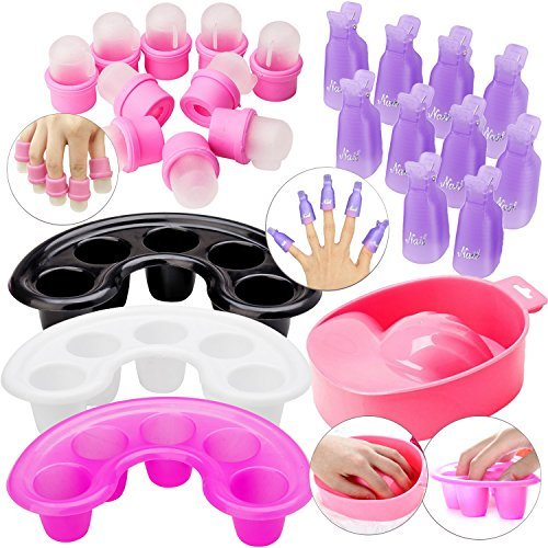 24pcs Nails Art, Manicure and Treatments / Care Tool Set / Kit / Lot With Acetone Resistant Soakers / UV Gel Polish / Varnish Removers / Soaking Fingers Cups, Trays, Soak Bowl, Soak Off Clips / Caps