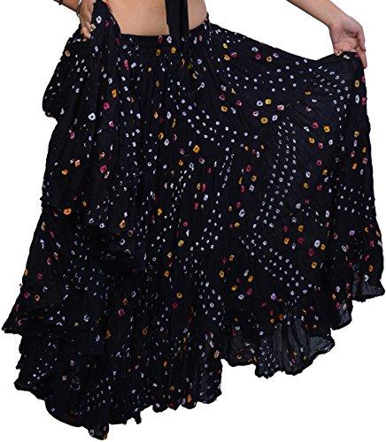 Wevez ATS 25 Yard Tribal Belly Dance Polka Dot Jaipur Skirt (Black)