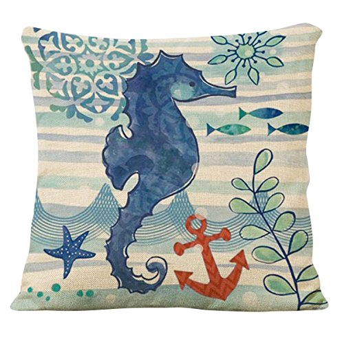 Famibay Decorative Pillow Cover Ocean Park Theme Square Cotton Linen Throw Pillow Case Cushion Cover 18 x 18 (Sea Horses)