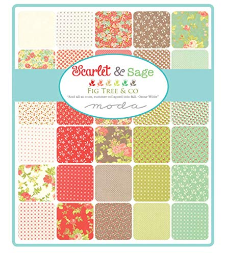 for Moda Fabrics Scarlet /& Sage Jelly Roll 40 2.5-inch Strips by Fig Tree /& Co