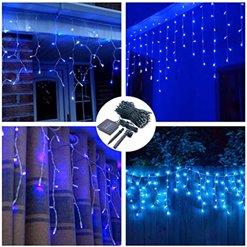 (Wave Curtain Icicle Lights,Solar Powered,19.7ft Long 300 LED String Lights,8 Modes Waterproof Fairy Lights for Outdoor Fence Welcome Path Wall Wedding Arch Party Home Patio Decoration (Blue))