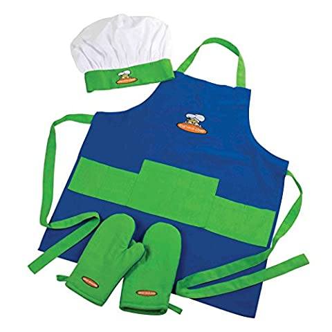 Curious Chef, 4-Piece Child Chef Textile Set for Girl or Boy - Childrens Chef Hat