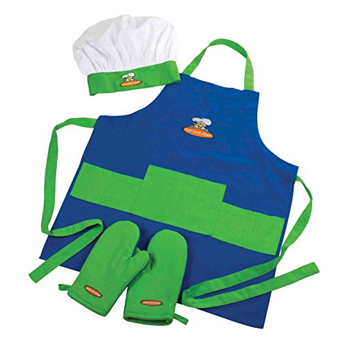 Piece 4 Apron Set (Curious Chef, 4-Piece Child Chef Textile Set for Girl or Boy)