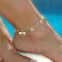 Joyería del pie de la sandalia del tobillo de la cadena de la libélula del oro del encanto de las mujeres