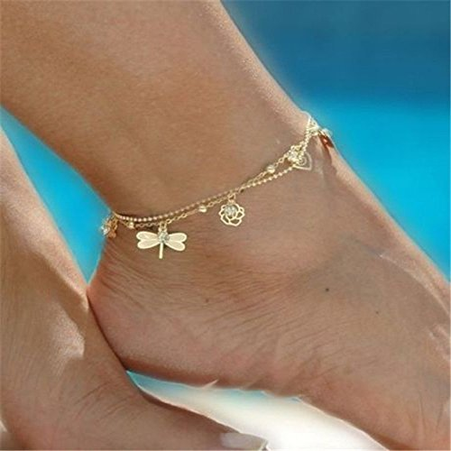[Women Charm Gold Dragonfly Chain Anklet Bracelet Barefoot Sandal Foot Jewelry] (Womens Accessories Shop)