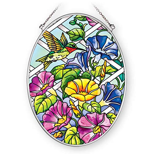 (Amia 41362 Hummingbird Morning Glory 5-1/2 by 7-Inch Oval Sun Catcher,)