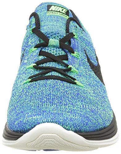Nike Flyknit Lunar3, Zapatillas de Running para Hombre Azul / Negro / Verde (Racer Blue / Black-Vltg Green-Sl)