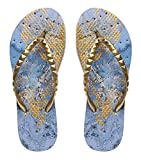 Showaflops Womens' Antimicrobial Shower & Water Sandals for Pool, Beach, Dorm and Gym - Gilded Blue Marble 7/8