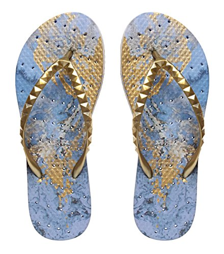Showaflops Womens' Antimicrobial Shower & Water Sandals for Pool, Beach, Dorm and Gym - Gilded Blue Marble 9/10