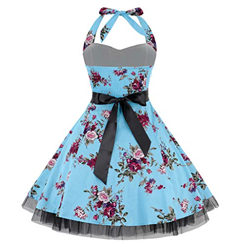 Sunday88 Women Retro Halter Neck Boho Print Sleeveless Casual Mini Beachwear Party Prom Swing Dress Blue
