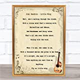 Jimi Hendrix Little Wing Song Lyric Vintage Quote Print