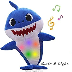 Children's Soft Toy Shark Baby,Music Sound Baby Shark Plush Doll Soft Baby & Singing English Song for Kids The Best Gift for Boys and Girls (Blue)
