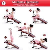 HOMCOM Banco de Musculación Banco Abdominal Pesas Estiramiento de Brazos Multifuncional para Fitness con 2 Cuerdas Expansor Acero