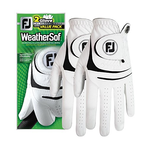 FootJoy Men's WeatherSof 2-Pack Golf Glove White Medium/Large, Worn on Left Hand from FootJoy