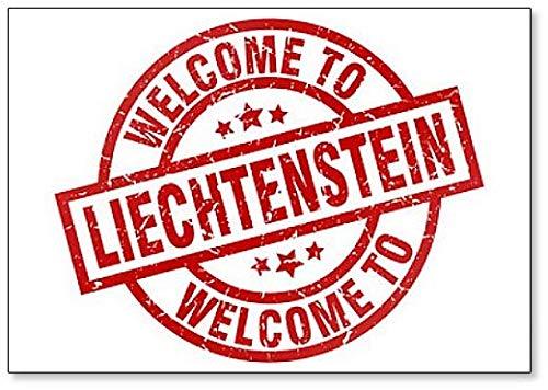 Welcome to Liechtenstein Red Stamp Illustration Fridge Magnet ()