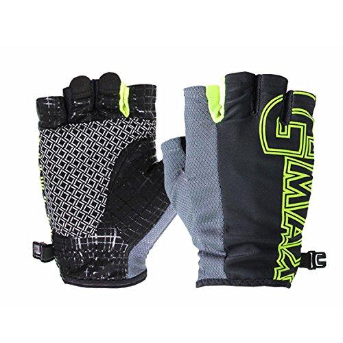GMAX Men & Women Outdoor Golf Gloves (Men/ Summer Breathable/ Half Finger/ Black-Neon green, M) (Neon Fingernails)